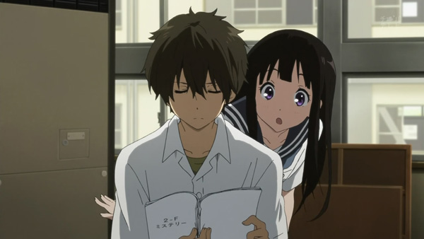 Hyouka 9: Chitanda's eyes are the reason I started watching this show. That's a-moe.